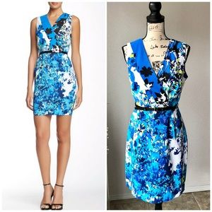 Andrew Marc New York Blue Floral Dress Belt 10 EUC